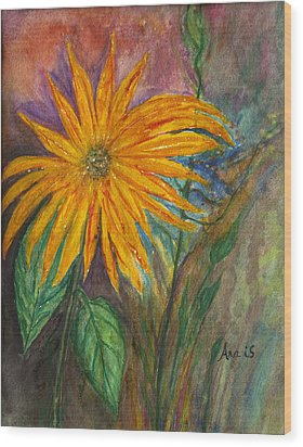 Orange Flower Wood Print by Anais DelaVega
