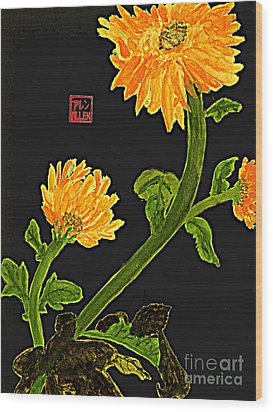 Orange Flowers  Chinese Watercolor Art Wood Print