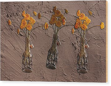 Orange Flowers Embedded In Adobe Wood Print