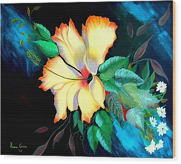 Orange Hibiscus Wood Print by Fram Cama