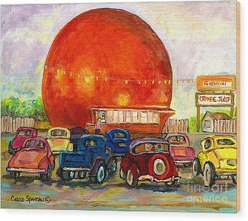 Orange Julep With Antique Cars Wood Print by Carole Spandau