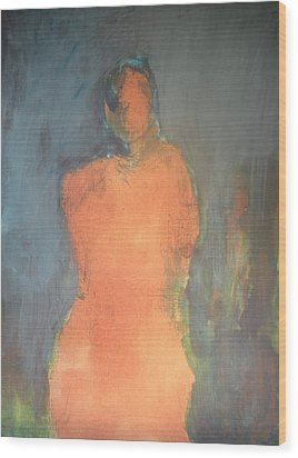Orange Lady Wood Print by Andrea Friedell
