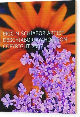 Orange Lavender Flower Wood Print