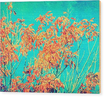 Orange Leaves And Turquoise Sky  Wood Print