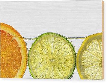 Orange Lemon And Lime Slices In Water Wood Print by Elena Elisseeva