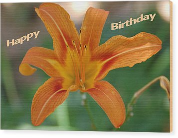 Orange Lily Birthday 1 Wood Print by Aimee L Maher Photography and Art Visit ALMGallerydotcom