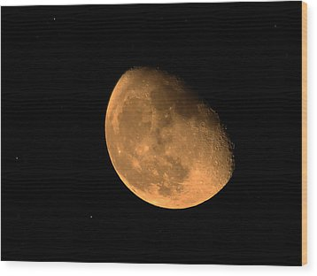 Orange Moon Wood Print