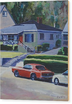 Orange Mustang Wood Print by Richard  Willson