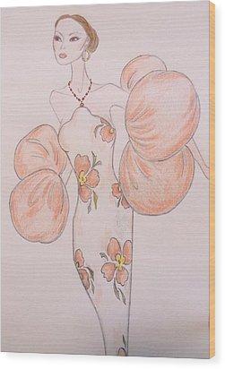 Orange Organza Wood Print by Christine Corretti