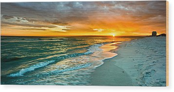 Orange Panoramic Sunset Wood Print by Eszra Tanner