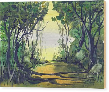 Wood Print featuring the painting Orange Path by Terry Banderas