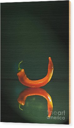 Orange Pepper Wood Print by Maja Sokolowska