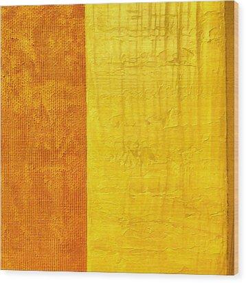 Orange Pineapple Wood Print by Michelle Calkins