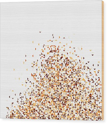 Orange Pixels Wood Print