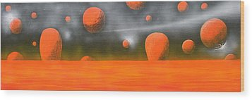 Orange Planet Wood Print by Tim Mullaney