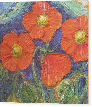 Orange Poppies Wood Print by Paris Wyatt Llanso