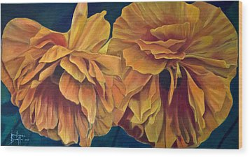 Wood Print featuring the painting Orange Poppies by Ron Richard Baviello
