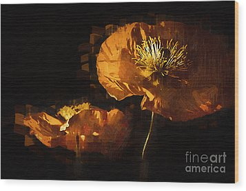Orange Poppies Two Wood Print by Kirt Tisdale