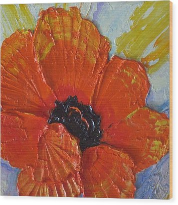 Orange Poppy Wood Print by Paris Wyatt Llanso