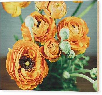 Orange Ranunculus Bouquet Wood Print by Nastasia Cook