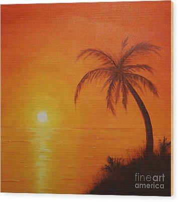 Orange Reflections Wood Print