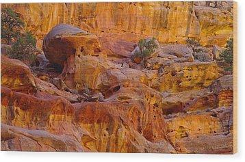 Orange Rock Formation Wood Print by Jeff Swan