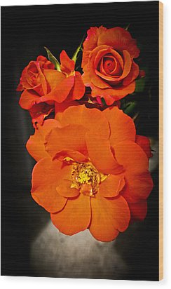 Wood Print featuring the photograph Orange Rose Trio by Joann Copeland-Paul