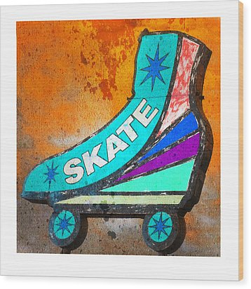 Orange Skate Wood Print by Gail Lawnicki