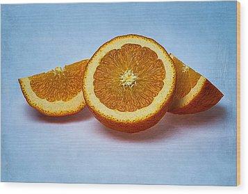 Orange Sliced Wood Print by Alexander Senin