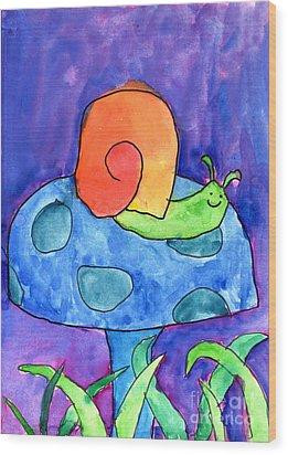 Orange Snail Wood Print by Nick Abrams Age Twelve