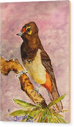 Wood Print featuring the painting Orange-spotted Bulbul by Jason Sentuf