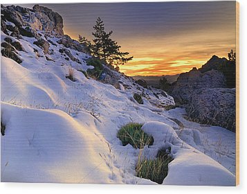 Orange Sunset At The Mountains Wood Print by Guido Montanes Castillo