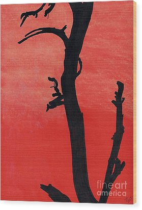 Wood Print featuring the drawing Orange Sunset Silhouette Tree by D Hackett