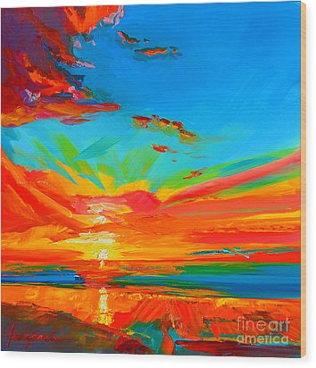 Orange Sunset Landscape Wood Print