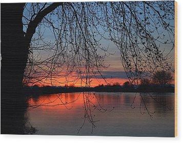 Wood Print featuring the photograph Orange Sunset by Lynn Hopwood