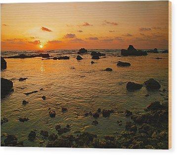 Orange Sunset Wood Print by Meir Ezrachi