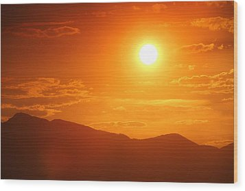 Wood Print featuring the photograph Orange Sunset Over Mountains by Tracie Kaska