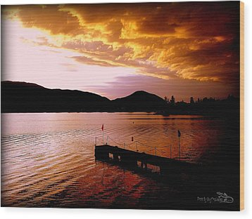 Wood Print featuring the photograph Orange Sunset Skaha Lake by Guy Hoffman