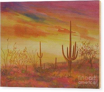 Orange Sunset Wood Print by Summer Celeste