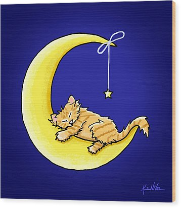 Orange Tabby Lunar Love Wood Print by Kim Niles