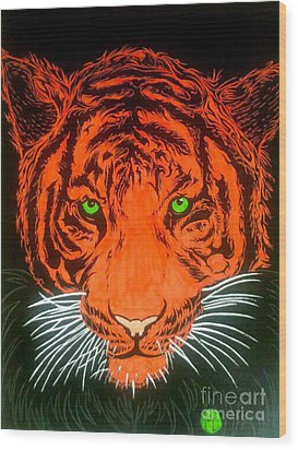 Wood Print featuring the drawing Orange Tiger by Justin Moore