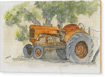 Orange Tractor Wood Print