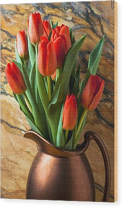 Orange Tulips In Copper Pitcher Wood Print by Garry Gay