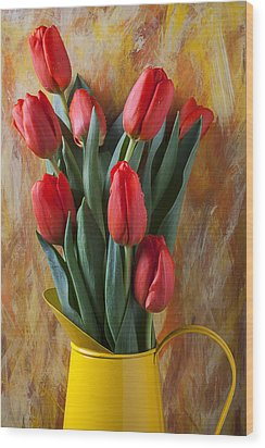 Orange Tulips In Yellow Pitcher Wood Print by Garry Gay