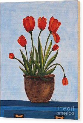 Orange Tulips On A Blue Buffet Wood Print by Barbara Griffin