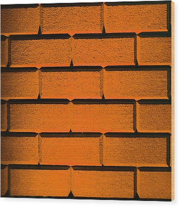 Orange Wall Wood Print by Semmick Photo