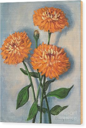 Wood Print featuring the painting Orange Zinnias by Randol Burns
