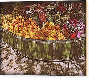 Oranges And Flowers Wood Print by Miriam Danar