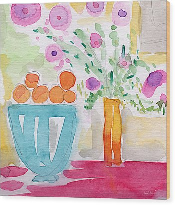 Oranges In Blue Bowl- Watercolor Painting Wood Print by Linda Woods