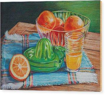 Oranges Wood Print by Joy Nichols